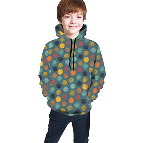 Teen Hooded Sweatshirts,Geometrical Sketchy Abstract Image with Colorful Circles On Jade Green...