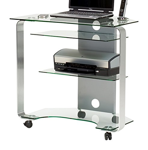 Jahnke CU de Mr 200S klgl,/aluminio pulido de esquina mesa para ordenador, de cristal de seguridad monocapa, Klarglas, 80x 76x 53cm