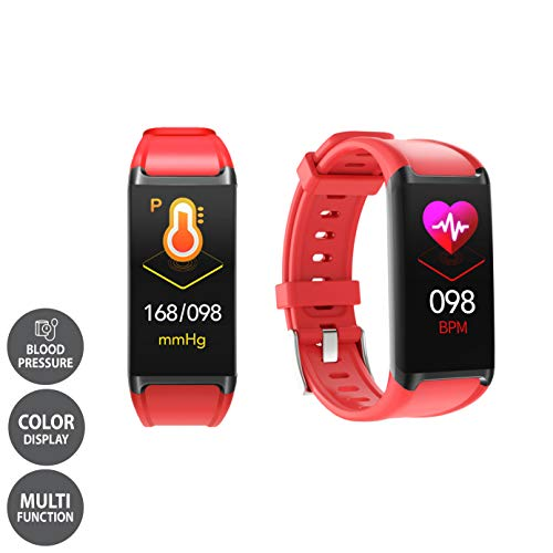 LCARE Mambo Fitness Band Pedometer, HR and BP, Sleep Tracker, Smart Activity Tracker Call Alert for Android and iPhone (Red)