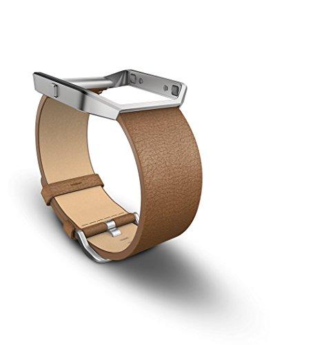 Fitbit Cinturino di Ricambio in Pelle Blaze, Montatura in Metallo Silver, Camello, Taglia S