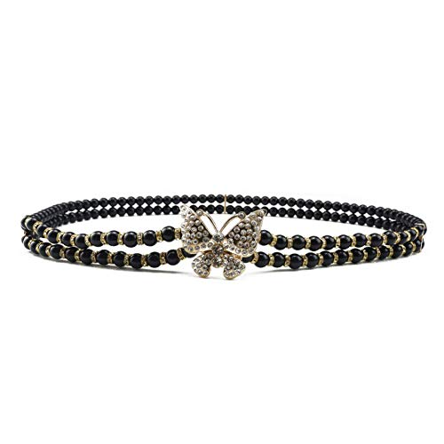 YDLYD Cinturones Cinturón Cinturones De Vestido De Novia De Perlas Blancas para Mujer Cinturones Elásticos De Cintura Ancha para Mujeres Cinturones De Cadena De Todo Fósforo para Mujeres