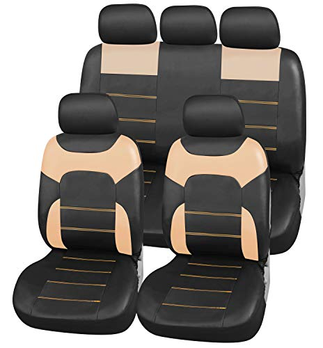 upgrade4cars Coprisedili Eco-Pelle per Auto Universali Nero & Beige | Set Copri-Sedile Universale...