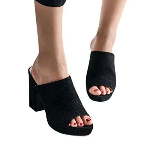 d8cea9cd6dc Sunday Women Summer Fashion Square High Heel Sandals Ladies Cute Fish Mouth  Flip Flop Shoes Sexy Wedge Flat Slippers Sandals Casual Holiday Beach Flip  Flop ...