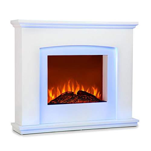 Klarstein Aosta Light & Fire Elektro-Kamin mit Flammeneffekt • Elektrischer Kamin • E-Kamin • 1000 oder 2000 Watt • adaptive Startsteuerung • Timer • MDF-Gehäuse • Thermostat • Fernbedienung • weiß