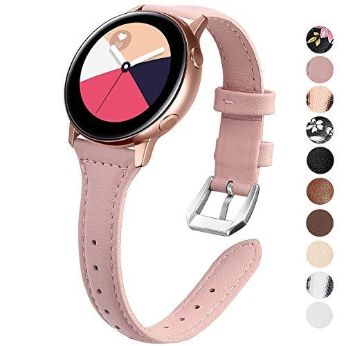 KIMILAR Sottile Braccialetto di Ricambio Cinturini Pelle Cinturino per Samsung Galaxy Watch Active / Active2, Samsung Galaxy Watch 42mm, Garmin Vivoactive 3, Ticwatch 2 (Rose Pink)