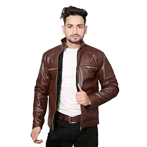 Life Trading Hot Released Faux Leather Jacket for Mens and Boys (Brown, Medium)