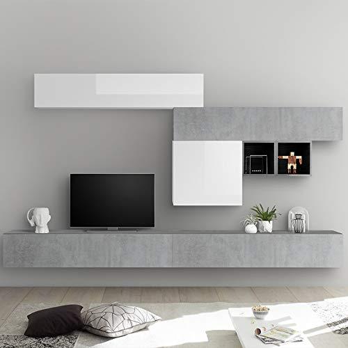 NOUVOMEUBLE Galatina - Mobile TV Bianco Laccato e Grigio Cemento