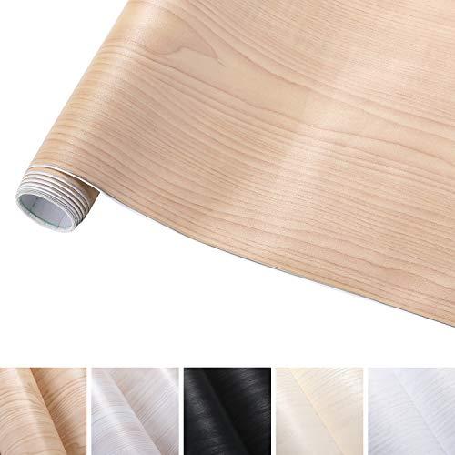 KINLO 0.61M*5M(1 Rotolo) Adesiva per Mobili Finto Legno Grano Beige PVC Impermeabile Antibatterico e...