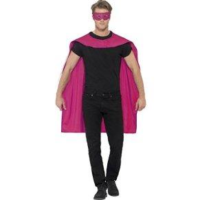 Amakando Disfraz Salvador Capa y máscara de superhéroe Rosa Traje héroe Adulto Outfit manteleta Salvador Manto Superman y Antifaz Vestimenta carnavalera superhéroe