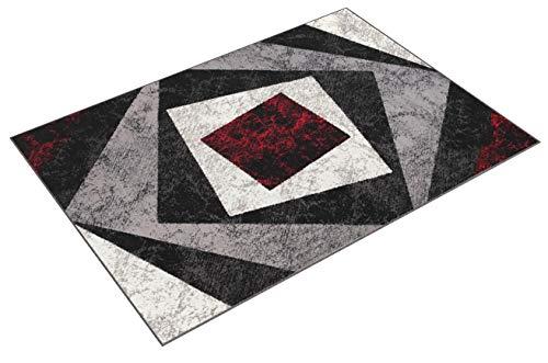 TAPISO Dream Tappeto Soggiorno Salotto Moderno Grigio Rosso Geometrico Quadrato A Pelo Corto 180 x...