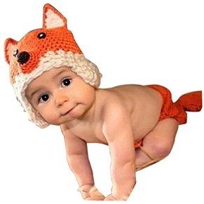 AKAAYUKO Bebé Recién Nacido Hecho A Mano Crochet Foto Fotografía Prop (Zorro)