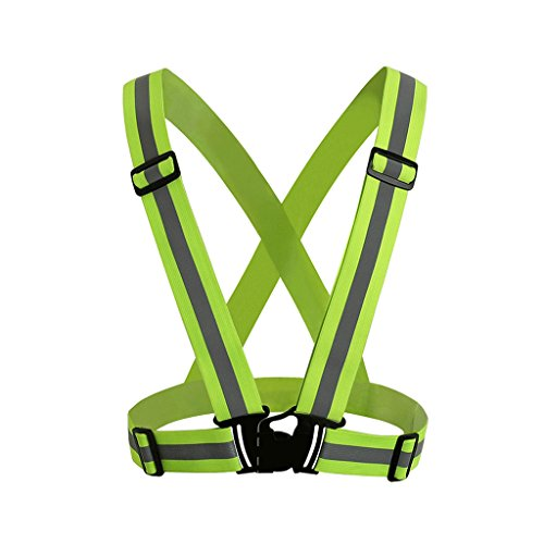 NONMON 1x Chaleco Ajustable Reflectante de Seguridad con Alta Visibilidad Cinturón Elástico para Correr,Paseo,Ciclismo - Verde Fluorescente