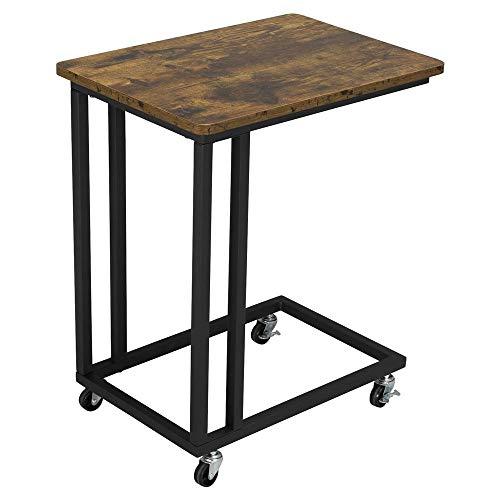 Yaheetech Tavolino con Ruote Industriale Vintage da Divano caffè Salotto Colazione a Letto Consolle per Laptop Notebook Snack Moderno Nero e Marrone