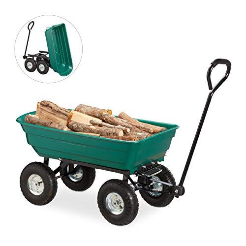 """Relaxdays Kippwagen, Gartenwagen mit Kippfunktion, zum Outdoor Transport, Lenkachse, bis 200kg, Luftreifen 3.50-4\"""", grün"""