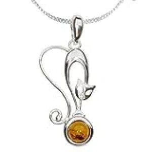 InCollections - Collar de plata de ley con ámbar con cadena de pánzer (42 cm)