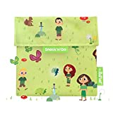 Roll'eat - Snack'n'Go Kids - Bolsa Merienda Porta Snacks Infantil Ecológica y Reutilizable sin BPA | Funda Porta Sandwich, Unisex, Diseño Forest