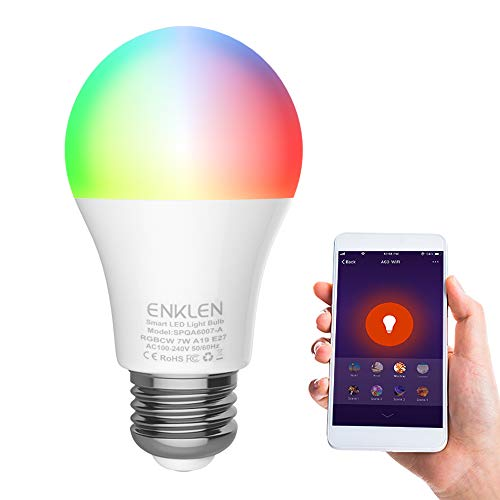 Lampadina Intelligente, Wifi Smart Lampadine E27 LED A19/A60 7W RGBCW Lampadina Ecologica...