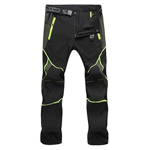 LUI SUI Hombre Al Aire Libre Impermeable Respirable Secado Rápido Pantalones Delgados Ropa Deportiva Escalada Ciclismo Pantalones De Trabajo (XL, Negro Verde)
