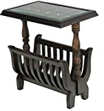Furniture Flip Dark Brown Stylish Glass Top With Magazine-News Paper Holder Table