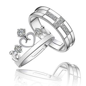 RV Media White Sparkling Crystal Heart Crown and Cross Design Adjustable Couple Ring for Men and Women 11