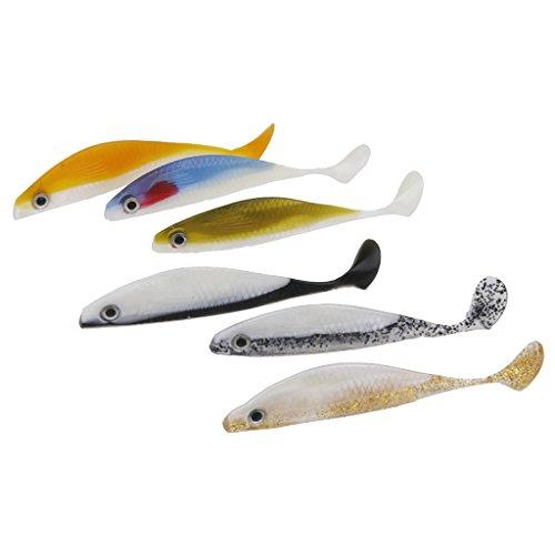 6pcs 14,5 cm Affondamento Morbido Silicone Esche Da Pesca Pesce Esca Nuotare Esche