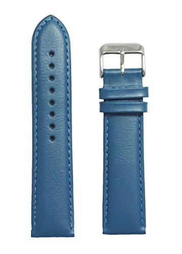 Like 20 Mm Leather Plain Padded Watch Strap (Blue)