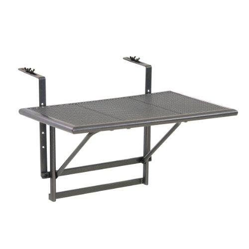 greemotion 416505 Tavolino Pieghevole da Balcone, Regolabile in Altezza, Grigio, 60x40x56 cm