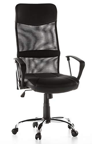Sedia da ufficio / poltrona presidenziale ARTON 20 tessuto rete / ecopelle nero cromo hjh OFFICE 668010
