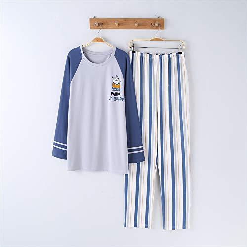 DUJUN Mujer Conjunto de Pijama de Manga Corta para Mujer con Pantalones Largos Suaves,Traje de Confort de Manga Larga de algodón para Parejas A-3 XL Masculino