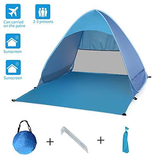 Tenda da spiaggia pop up facile, tenda da sole portatile Cabana, riparo da spiaggia anti UV,...