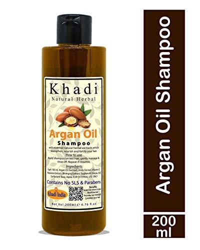 Khadi Natural Herbal Moroccan Argan Hair Shampoo With Organic Argan Oil (No SLS & Paraben), 200ml (Argan Oil Shampoo)