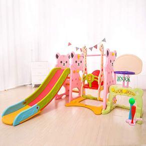 PNFP Bebe Toboganes, Interior Infantiles Juguetes para Escalar con Columpios, Puerta de Fútbol, Soporte de Baloncesto…