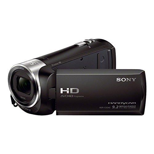 Sony HDR-CX240E Videocamera Handycam, Sensore CMOS Exmor R da 3.1 mm Retroilluminato, Obiettivo Grandangolare ZEISS, Zoom Ottico 27x, Nero