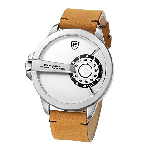 SHARK Sportuhr, Herren Armbanduhr XXL Lederband Keine Handgestaltung Analoger Quarz SH566