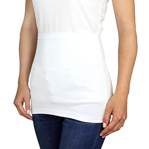 Alkato Damen Nierenwärmer T-Shirtverlängerung Sporttube Uni, Farbe: Weiß, Größe: 40