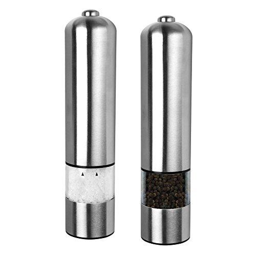 S/O 2er Pack Elektrische LED Salz oder Pfeffermühle Gewürzmühle unbefüllt mit Keramik Mahlwerk Höhe ca. 23cm Pfeffer Salz Gewürz Mühle (0341)