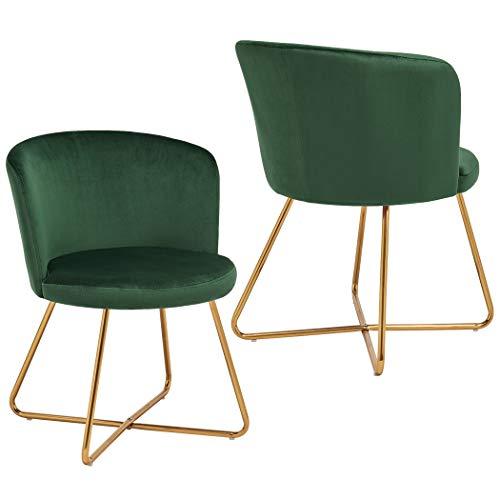 Duhome 2X Sedia da Sala da Pranzo Verde Chiaro Tessuto (Velluto) Sedia Imbottita Design Retro Vintage con Piedini in Metallo Sedia di Sala d'attesa conferenza Selezione Colore 8076X