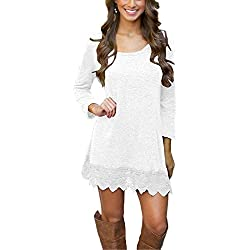 Summer Mae Damen A-line Lace Quaste Beiläufigkeit Herbst Kleid Retro-Look Dress,M (EU 36-38),Weiß