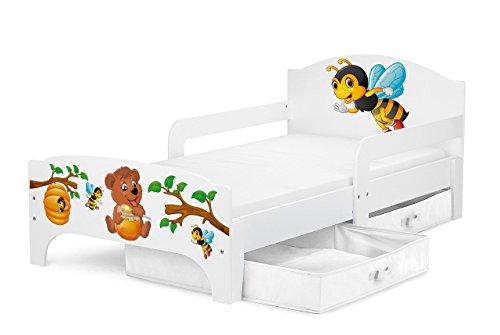 Smart Letto Lettino Per Bambini In Legno Cassetto Cassettone e Materasso Magnifiche Stampe Mobili...
