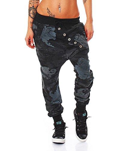Zarmexx-Trendy-Damen-Hose-Boyfriendhose-Jogginghose-Haremshose-Aladinhose-Freizeithose-Baggy-Boyfriend-Sport-Loose-Fit-schwarz-One-Size