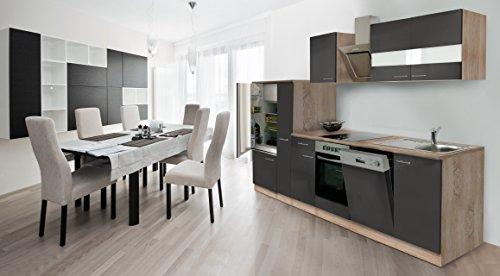 respekta Economy Cucina Riga 310cm Rovere Sonoma Grezzo Front Grigio con Nastro Designer aspirante