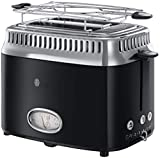 Russell Hobbs Toaster Retro schwarz, Retro Countdown-Anzeige, inkl. Brötchenaufsatz, 6 einstellbare Bräunungsstufe + Auftau- & Aufwärmfunktion, Schnell-Toast-Technologie, 1300W, Vintage 21681-56
