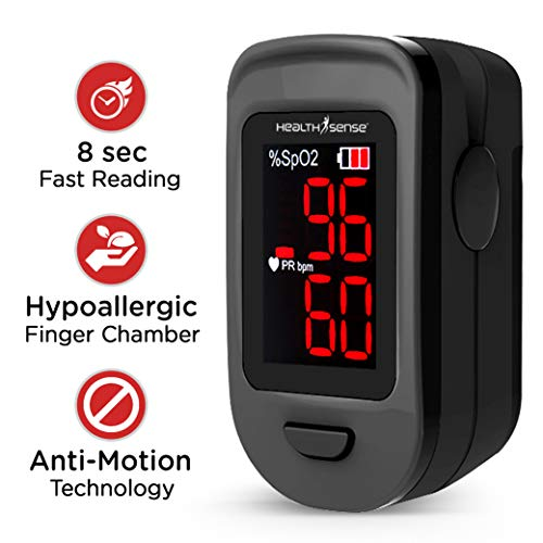 HealthSense Accu-Beat FP 900 Finger Tip Pulse Oximeter and SPO2 Blood Oxygen Saturation Monitor with Lanyard (Royal Black)
