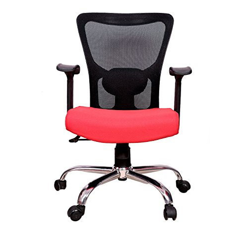 Rajpura Jazz Medium Back Revolving Chair with Centre Tilt Mechanism in Red Fabric and Black mesh/net Back Office Executive Chair