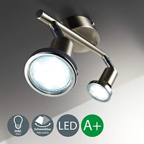 Faretti LED da soffitto orientabili, 2 luci, include lampadine GU10 da 3W, luce calda 3000K,...
