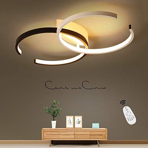 LED Deckenleuchte I CBJKTX Deckenlampe 55cm 37W dimmbar mit Fernbedienung Wohnzimmerlampe Eisen Kronleuchte Kinderzimmer Lampe Esszimmerlampe Schlafzimmerlampe Badezimmerlampe Flurlampe (A-s&w-Φ55cm)