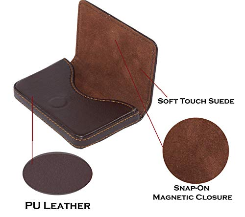 Storite Pocket Sized Stitched Leather Credit Debit Visiting Card Holder (Coffee Brown) 5