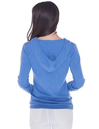 100% Kaschmir V-Ausschnitt Kordelzug Hoodie Pullover für Frauen - von CASHMERE 4 U (Small, Azure(Azurblau)) - 4