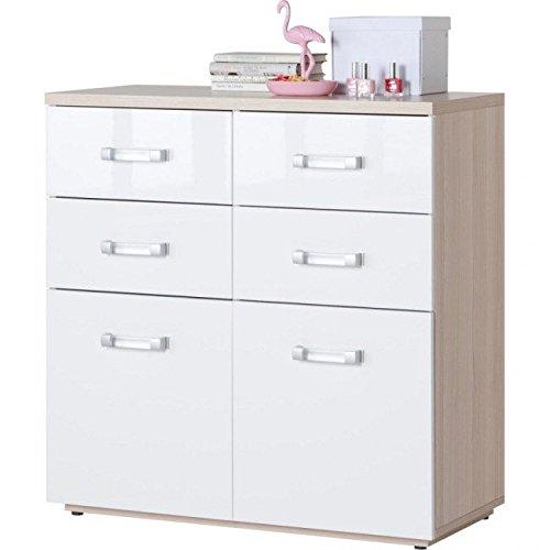 Composad Cassettiera sei cassetti laccata colore frassino e laccato bianco