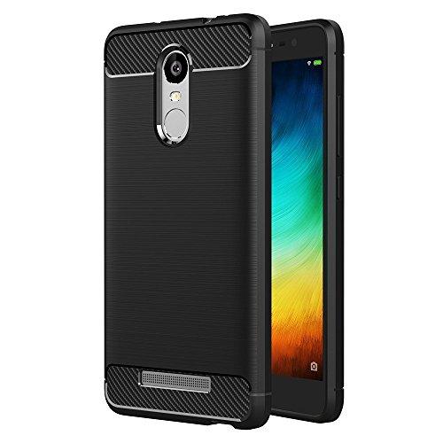 ivoler Funda para Xiaomi Redmi Note 3 / Xiaomi Redmi Note 3 Pro, Diseño de Fibra de Carbon Ultra Fina TPU Silicona Carcasa Fundas Protectora con Shock- Absorción - Negro